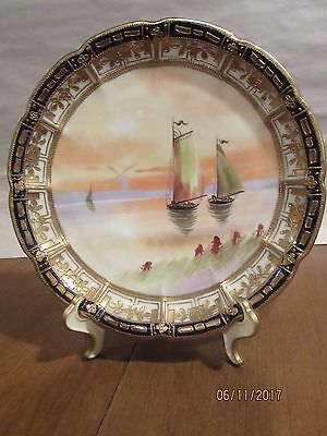 """VINTAGE NIPPON 9"""" PLATE; COBALT and GILDED with 3 SHIPS and WINDMILL; EXCELLENT"""