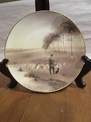 """RARE NIPPON 10"""" PLAQUE:PASTORAL SCENE with SHEEP; BISQUE FINISH; PIERCED to HANG"""