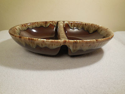 """Vintage - Brown Drip 10"""" Oval Divided Serving Dish/Vegetable Bowl - Canonsburg?"""
