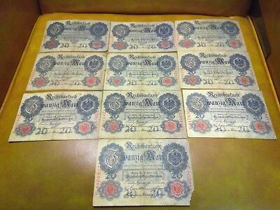 Imperial German banknote lot 20 marks 1910 x10 notes
