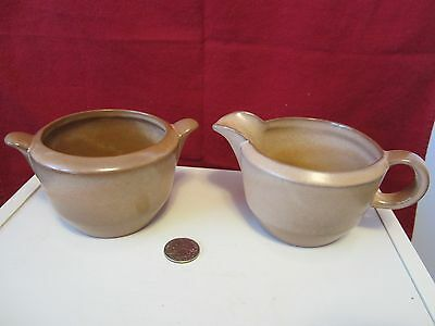 Frankoma ADA Clay Pottery Brown Satin Plainsman 6A & 6B Sugar Bowl & Creamer
