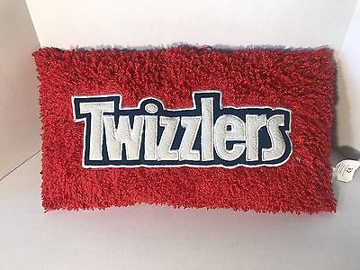 """19"""" TWIZZLERS LOGO PLUSH STUFFED PILLOW Red Strawberry Candy 100% Polyester"""