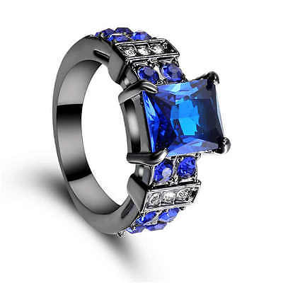 Blue Sapphire 18k black gold filled Fashion jewelry wedding rings New size 6
