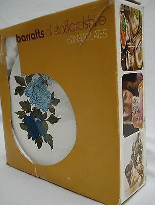Barratts Of Staffordshire BLUE HARMONY 6 Dinner Plates Retro Vintage Boxed 1970s