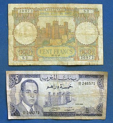 Morocco 100 Francs, 1948 & 5 Dirhams 1970. Fortress, castle.  Circulated