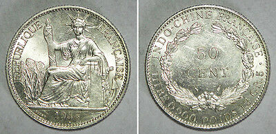 French Indo-China 1936 SILVER 50 Cents UNC
