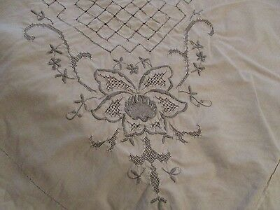 Vtg Madeira Embroidered Tablecloth 64 x 90 floral beautiful cream w/ gray