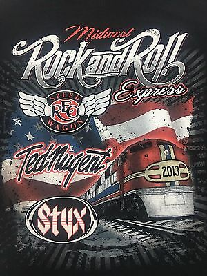 Styx REO Speedwagon Ted Nugent Mens T-Shirt L 2013 Midwest Rock n Roll Express