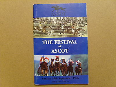 1996 ASCOT OFFICIAL RACE CARD - 29th SEPTEMBER 1996 - SLEEPYTIME, BENNY THE DIP