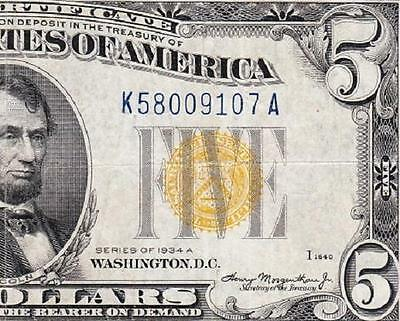 VERY NICE Crisp VF+ 1934 A $5 NORTH AFRICA Silver Cert.! FREE SHIP! K58009107A