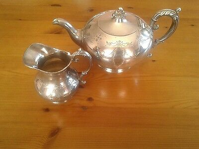 James Dixon and Sons silver plate teapot and jug set