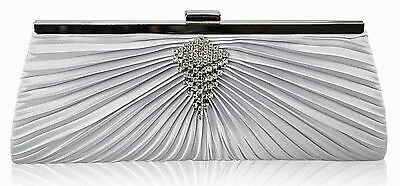 Satin Clutch Bag Wedding Bridal Party Ivory, Black, Silver Champagne