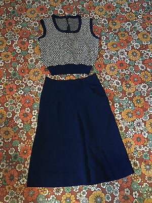 VTG 60s Navy Blue White Checkered Sweater Vest A Line Skirt Set Outfit Lot 6 XS