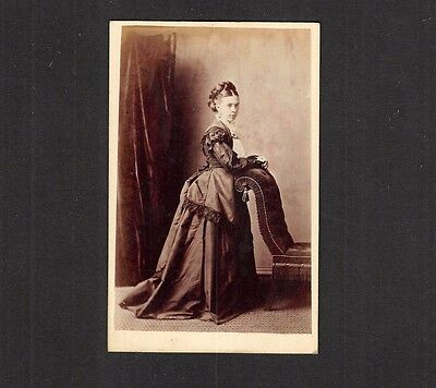 CDV - Woman in Long Dress,  Photo by Hy Hurst, Stockport, Cheshire  c 1860's