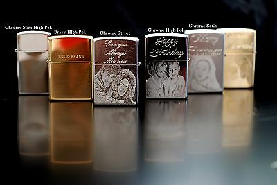 Personalised Zippo Lighters,photo engrave, fast  delivery. Genuine Zippo