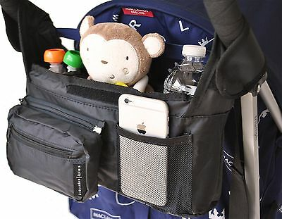 Stroller Organizer Universal Fit with Detachable Pouch Insulated Bottle Holder