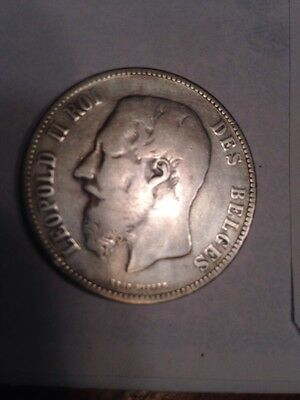 1873 BELGIUM .900 SILVER FIVE FRANCS BEAUTIFUL SILVER CROWN .144 Yrs Old. L@@K