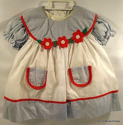 Vintage Cradle Togs Inc Baby Dress 12 Mo White Red Flowers Blue Pin Stripes New