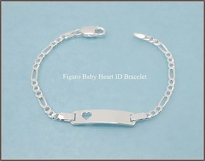 6 Inch, Baby, Childs 925 Sterling Silver Engravable Figaro Heart ID Bracelet,NEW