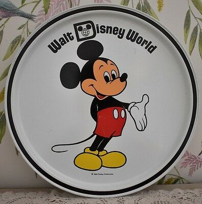 Vintage Walt Disney World Mickey Mouse Metal Tin Serving Tray 1970's