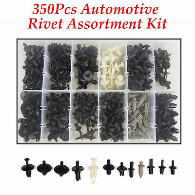 350Pcs Car Body Push Pin Rivet Fasteners Trim Moulding Clip Assortments Kit