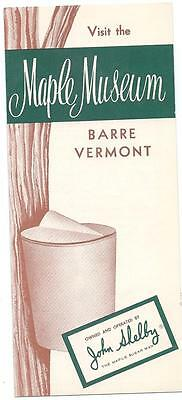 1960s or earlier tourist brochure BARRE, VERMONT MAPLE MUSEUM