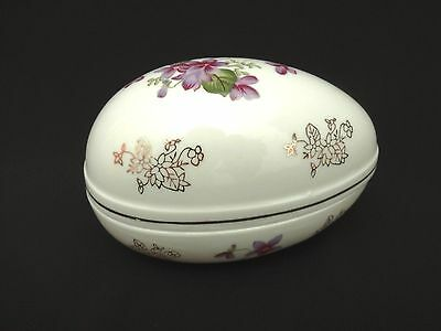 Vintage Lefton Egg Jewelry Trinket Box Floral Hand Painted Japan COLLECTIBLE!