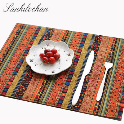 4Pcs Upscale Pastoral Cloth Placemat Table Mat Western Pad Placemats Double Thic
