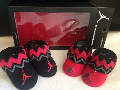 Nwt! 2 Pairs Nike Jordan Red Black Booties Crib Shoes Socks 0-6 Months Unisex