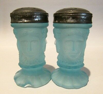 Goddess Athena, Daughter of Zeus 1800's Aqua Salt & Pepper Shakers Original Lids