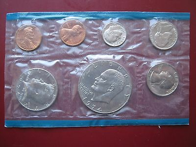 USA US 1974 7 Coin Mint Set Double Cent - IKE Eisenhower Dollar sealed pack