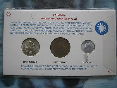 Taiwan 1960 modern UNC type 3 coin set 10 & 50 Cents & 1$ Silver Dollar in card