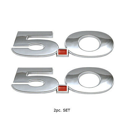 """Mustang /""""Powered By Ford Performance/"""" 5.5/"""" Emblems Fender Badges Chrome Pair"""