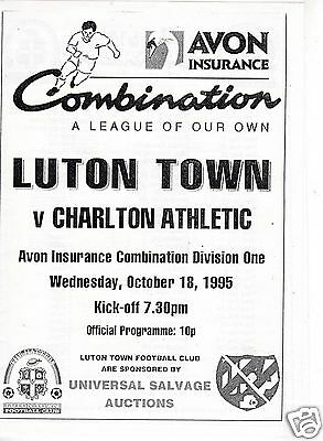Luton Town V Charlton Athletic  Reserves  Combination Lge   18/10/95