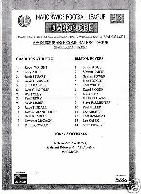 Charlton Athletic Reserves V Bristol Rovers  Combination Lge  8/1/97