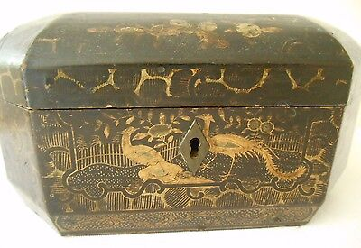 19th century Antique Chinese Gilded Lacquered Wood Tea Caddy Box Chinese Birds