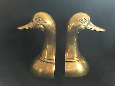 Vintage Pair of Brass Duck Head Bookends