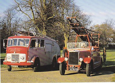 A Postcard showing an old Commer and a Leyland Fire Engine