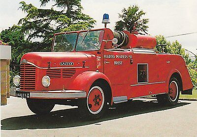 A Postcard showing a 1949 French Fire Service Laffly Pumper