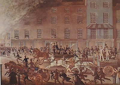 A Postcard of a print showing Insurance Fire Brigades in London in c1825.