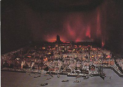 A Postcard showing a Model of The Great Fire of London in 1666