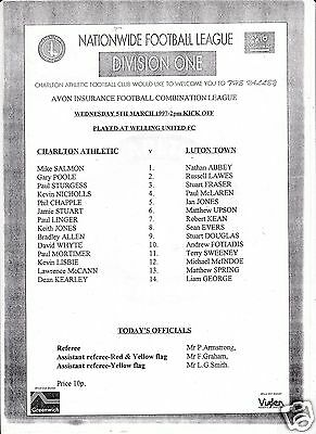 Charlton Athletic Reserves V Luton Town  Combination Lge  5/3/97