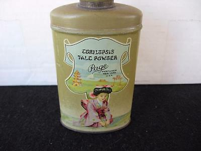 Vintage Page Corylopsis Powder Tin - Oriental Lady Pictured