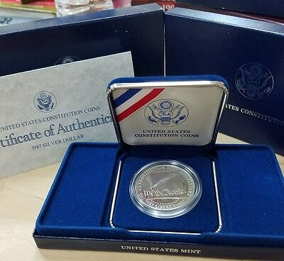 1987-S US Mint Proof Constitution Bicentennial Silver Dollar Coin  box w/ COA