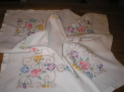 Vintage  Linen Hand Embroidered White Tablecloth  31 X 31 Ins.
