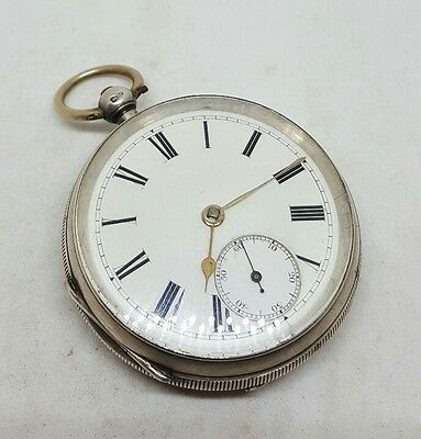 Chunky Antique solid silver gents Chester pocket watch 1896 working