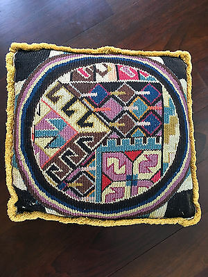 Antique Hollywood Regency Abstract English Tapestry Woven Knit Folk Art Pillow