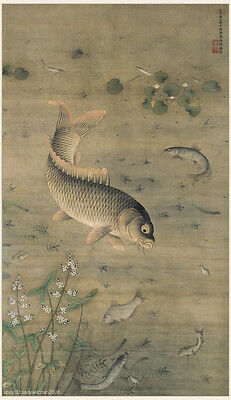 Chinese antique silk painting Ming dynasty Fishes swimming in between algae