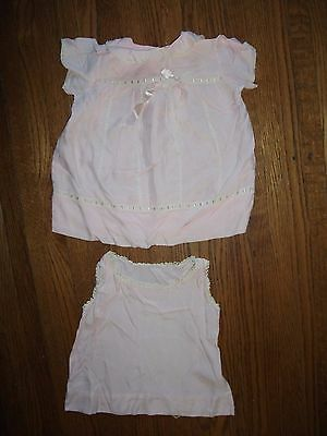2 Vintage Pink Baby Dresses Sleeveless Short Sleeve Late 1940s Early 1950s
