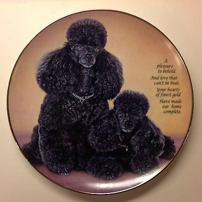 Cherished Poodles Danbury Mint Plate Black Poodle HEART OF GOLD Dog Puppy